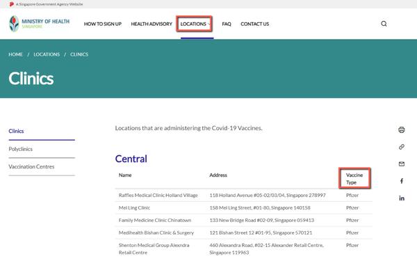 シンガポールでの「新型コロナワクチン」の種類の選び方について
